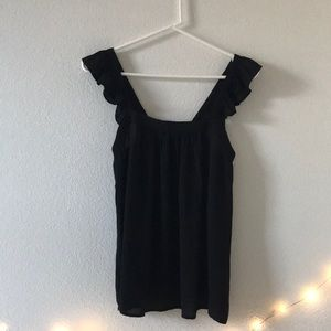 Loft Square Neck Tank with Ruffle Sleeves